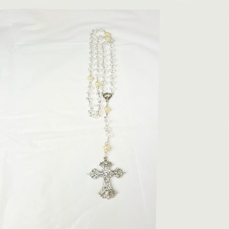 Glass & Faux Pearl Ornate Cross Rosary, 50cm,Hand made in Australia.