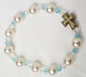 Faux Pearl Girls Rosary Bracelet white and Blue, Handmade in Australia.