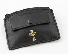 Load image into Gallery viewer, REAL LEATHER 2 POCKET ROSARY/COIN CASE