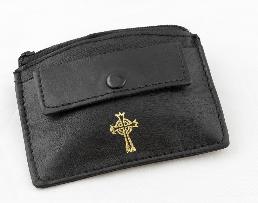 REAL LEATHER 2 POCKET ROSARY/COIN CASE