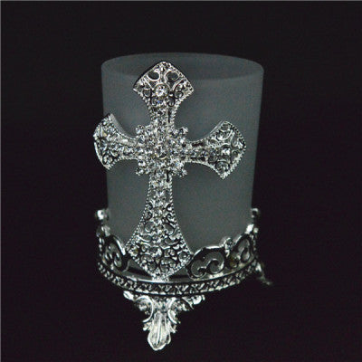 SILVER CROSS TEALIGHT HOLDER
