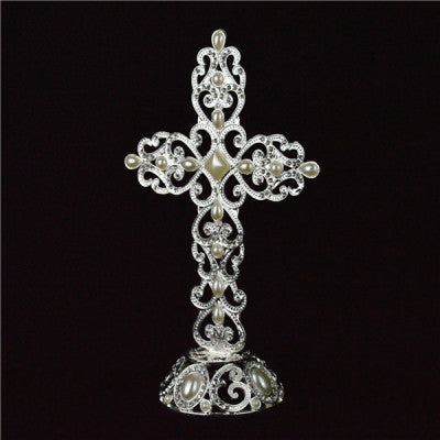 SILVER CROSS STAND 23.5 CM Height