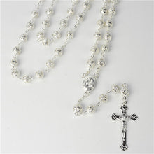 Load image into Gallery viewer, GOLD AND SILVER METAL BEAD ROSARY 57cm