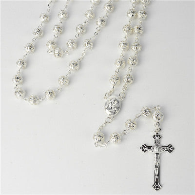 GOLD AND SILVER METAL BEAD ROSARY 57cm