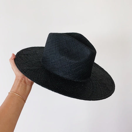 Black straw hat with flat wide brim