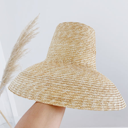 Bermuda Dunes Straw Hat Tall Crown Natural Straw Large Brim