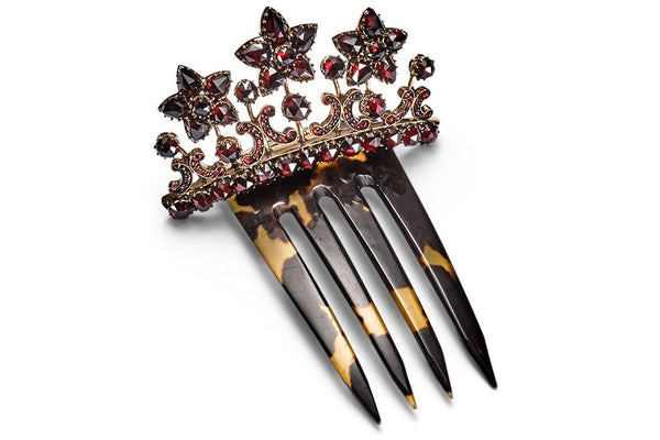 Antique Paris Hair Comb studded with Bohemian Garnet