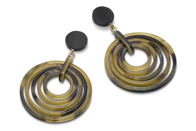 Ring-in-Ring Design Earrings, with five Rings, made of Dark Horn
