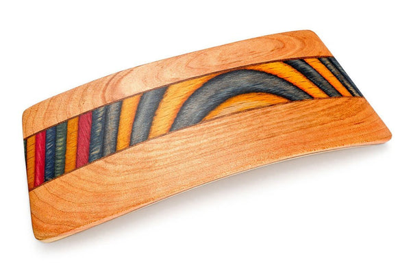 Colorful Inlay Barrette made of Bird Cherry Wood