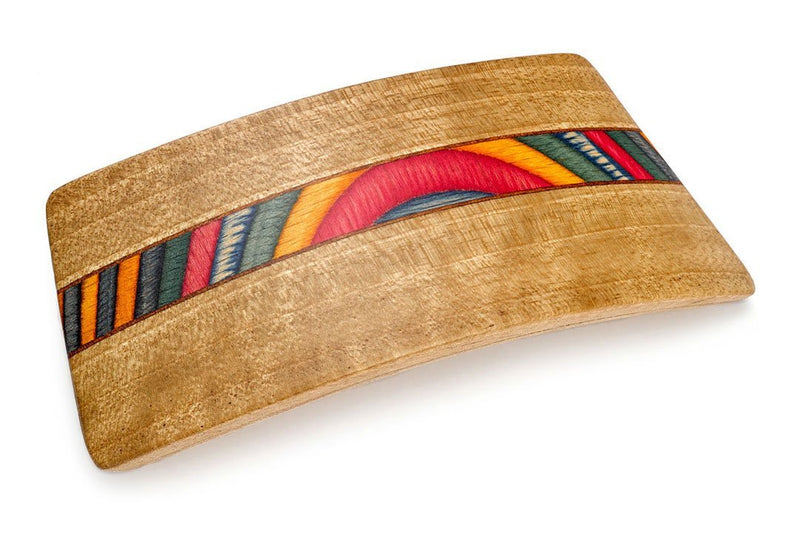 Colorful Inlay Barrette made of Oak Wood