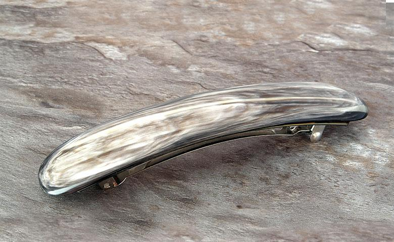 Elongated Rounded Barrette made of Light Horn