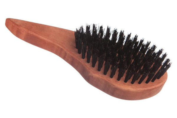 Left-Handed Drop Shape Hair Care Brush made of waxed Pear Tree for straight, wavy or curly Hair, 18 cm long