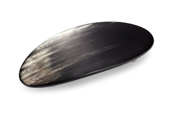 Large Oval Barrette made of Dark Horn