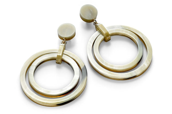 Ring-in-Ring Design Earrings made of Light Horn