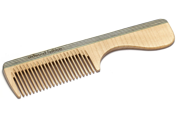 Antistatic Comb with Handle made of Wood, perfect for medium length, straight or wavy Hair, 18 cm long