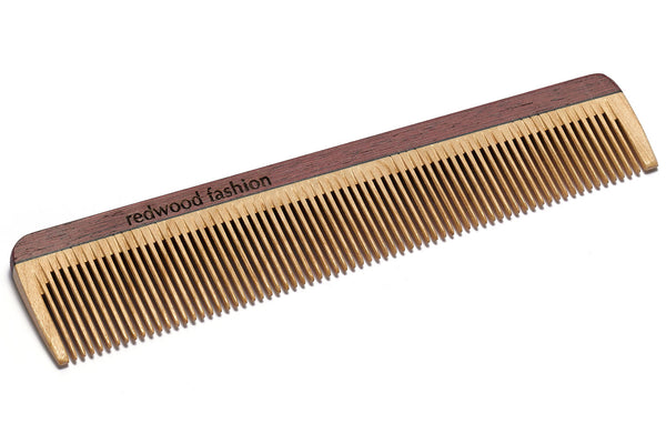 Antistatic Pocket Comb made of Wood, colourful, for fine, short or straight Hair, 16 cm long