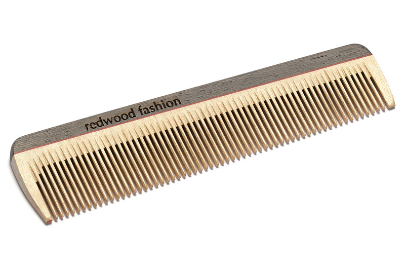 Antistatic Pocket Comb made of Wood, colourful, for fine, short or straight Hair, 14 cm long