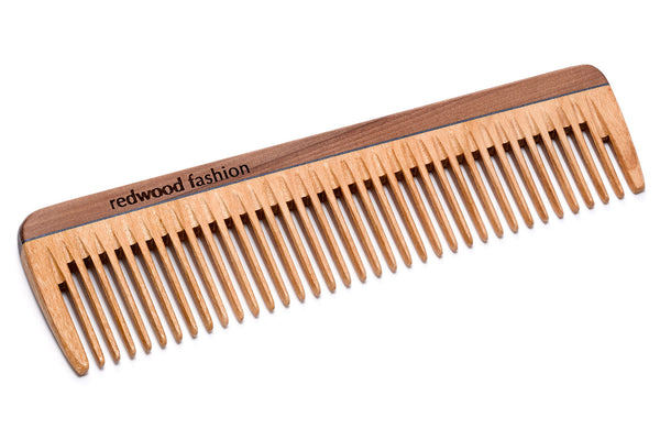 Antistatic Pocket Comb made of Wood, for medium length, straight or wavy Hair, 14 cm long