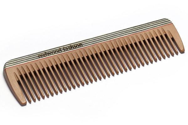 Antistatic Pocket Comb made of Wood, colourful, for medium length, straight or wavy Hair, 14 cm long