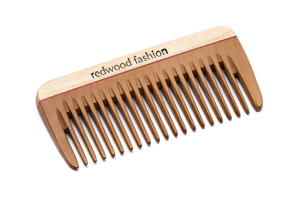 Antistatic Mini-Pocket Comb made of Wood, perfect for medium length, straight or wavy Hair, 8 cm long