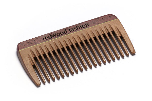 Antistatic Mini-Pocket Comb made of Wood, colourful, perfect for medium length, straight or wavy Hair, 8 cm long