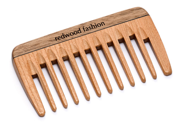 Antistatic Mini-Pocket Comb made of Wood, perfect for medium length to long, straight or wavy Hair, 9 cm length