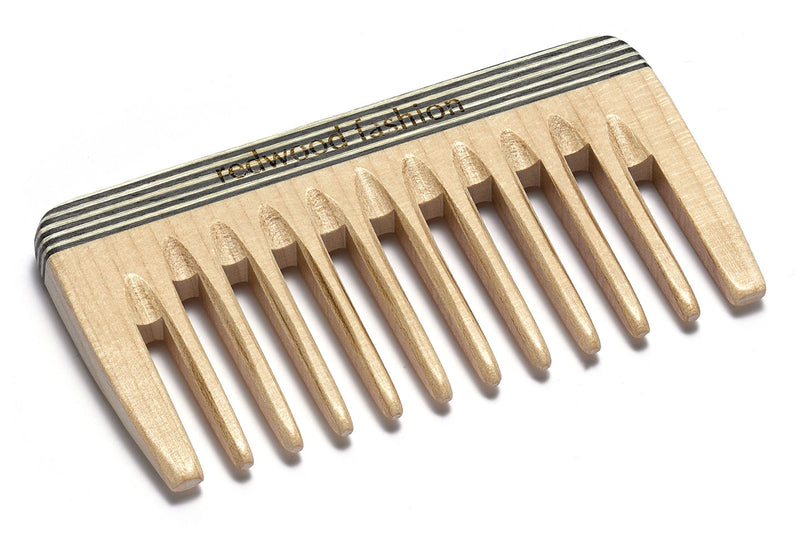 Antistatic Mini-Pocket Comb made of Wood, colourful, perfect for medium length to long, straight or wavy Hair, 9 cm length