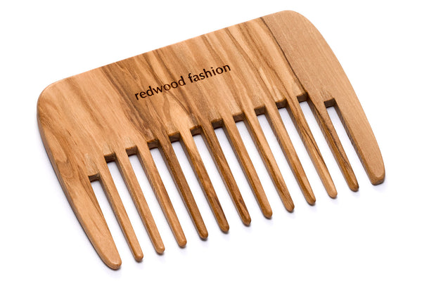 Antistatic Styling Comb made of Olive Wood, perfect for medium to long, wavy or curly hair, 10 cm length
