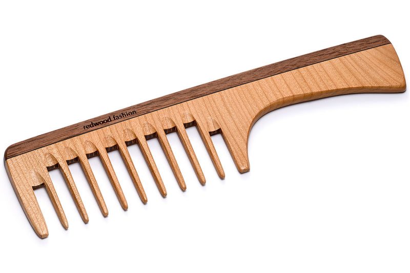 Antistatic Comb with Handle made of Wood, perfect for voluminous, curly Hair, 24 cm long