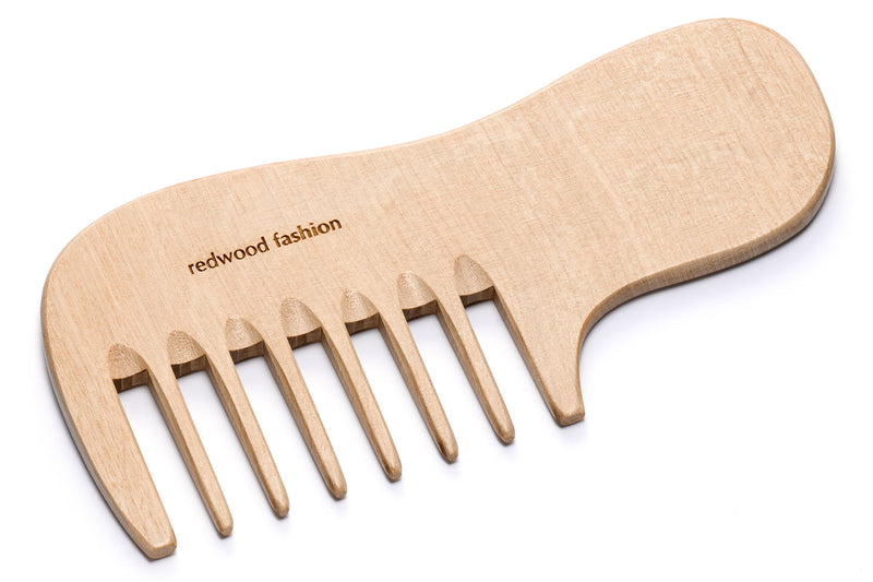 Antistatic Comb with Handle made of Wood, perfect for voluminous, curly Hair, 16 cm long