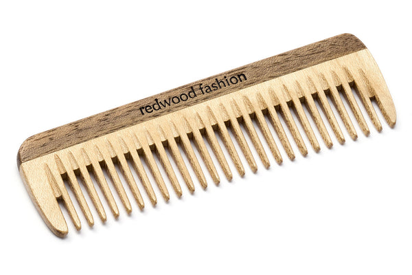 Antistatic Mini-Pocket Comb made of Wood, perfect for medium length, straight or wavy Hair, 10 cm length