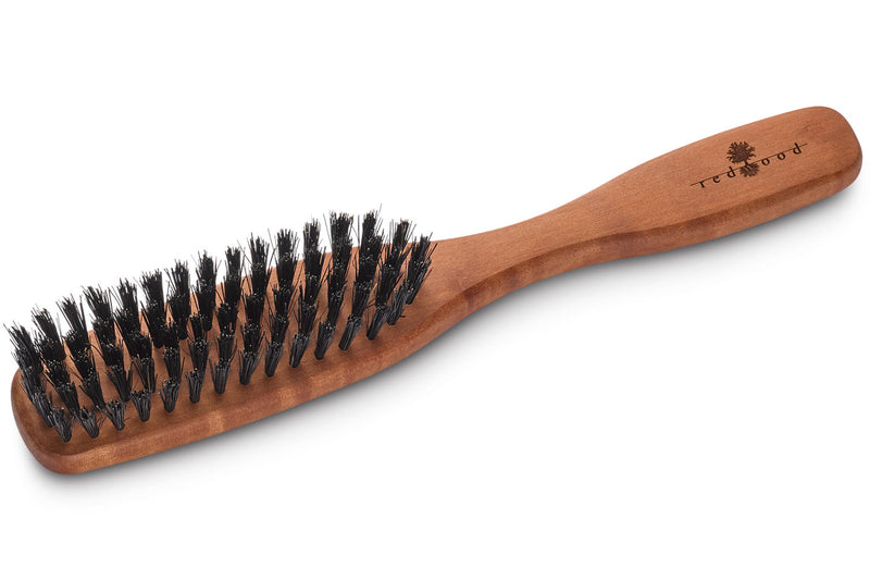 Slender, Classic Hairbrush made of waxed Pear Tree, perfect for medium length to long, straight or wavy Hair, 22 cm long