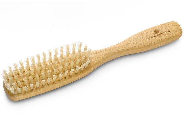 Slender Classic Hairbrush made of waxed Beech, perfect for short to medium length, straight, fine Hair and Sensitive Scalp, 22 cm long