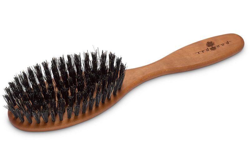 Oval Classic Hairbrush made of waxed Pear Tree, perfect for medium length to long, straight or wavy Hair, 20 cm long