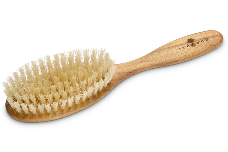 Oval Classic Hairbrush made of waxed Beech, perfect for short to medium length, straight Hair, 20 cm long