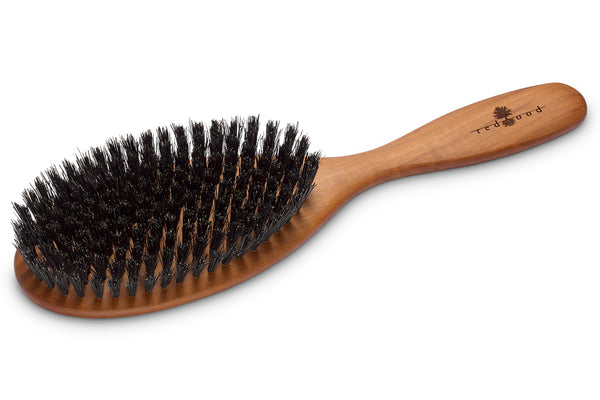 Oval Classic Hairbrush made of waxed Pear Tree, perfect for medium length to long, straight or wavy Hair, 22 cm long