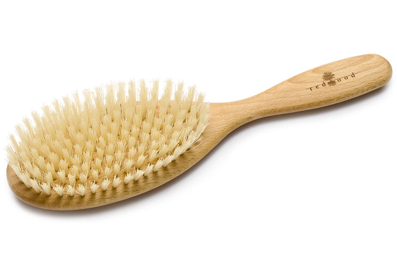 Oval Classic Hairbrush made of waxed Beech, perfect for short to medium length, straight Hair, 22 cm long
