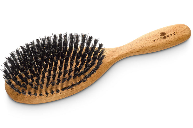 Oval Classic Hairbrush made of waxed Beech, perfect for medium length to long, straight or wavy Hair, for an intense Massage, 22 cm long