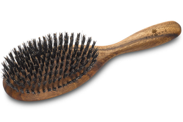 Oval Classic Hairbrush made of waxed Walnut, perfect for medium length to long, straight or wavy Hair, for an intense Massage, 22 cm long