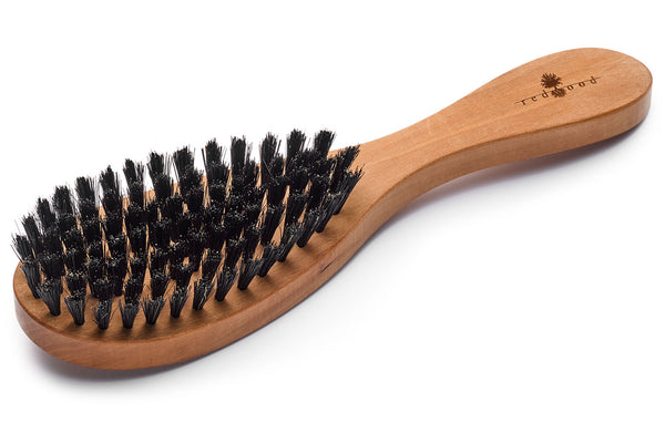 Oval Shape Hair Care Brush made of waxed Pear Tree for straight or wavy, fine Hair, 22 cm long