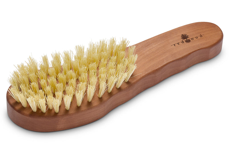 Vegan Ergonomic Hair Care Brush made of waxed Pear Tree for straight or wavy, fine Hair, for Dry Brushing, 19.5 cm long