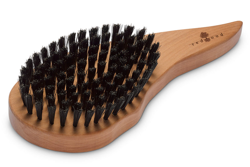 Drop Shape Hair Care Brush made of waxed Pear Tree for straight or wavy, fine Hair, 18 cm long