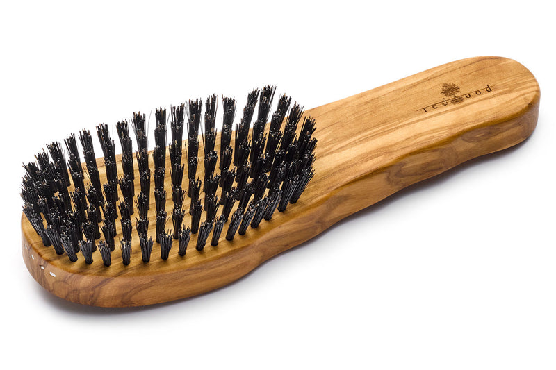 Ergonomic Hair Care Brush made of Olive Wood for straight, wavy or curly Hair, as well as thick Hair, 19.5 cm long