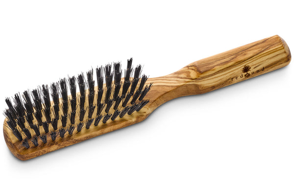 Slender Classic Hairbrush made of Olive Wood, perfect for medium length to long, straight or wavy Hair, 20 cm long
