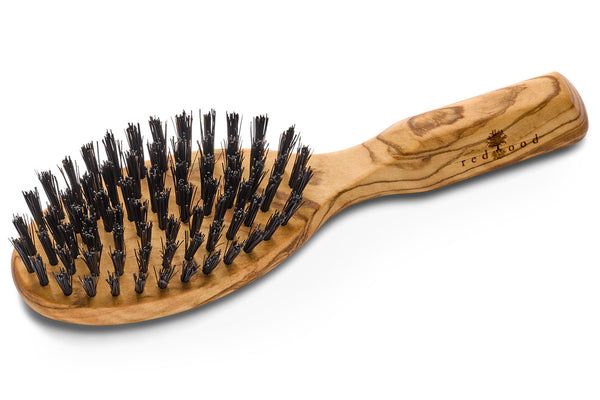 Oval, Classic Hairbrush made of Olive Wood, perfect for short to medium length, straight Hair, 17 cm long