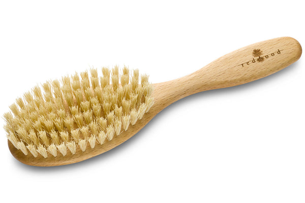 Oval, vegan Hairbrush made of waxed Beech, perfect for short to medium length, straight Hair, 20 cm long