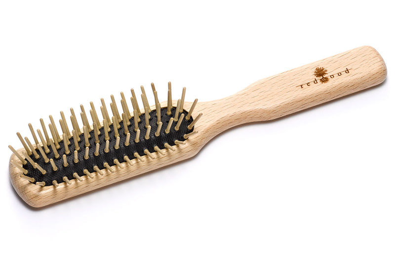 Slender Massage Hairbrush made of waxed Beech, perfect for medium length to long, straight or wavy Hair, for an intense Massage, 21.5 cm long