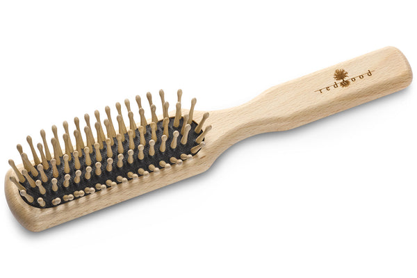 Slender Antistatic Massage Hairbrush made of waxed Beech, perfect for short to medium length, straight Hair, for a Gentle Massage, 21.5 cm long