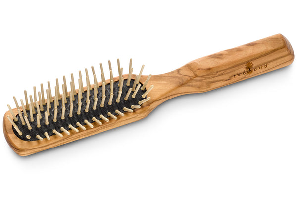 Slender Antistatic Massage Hairbrush made of Olive Wood, perfect for medium length to long, straight or wavy Hair, for an intense Massage, 21 cm long