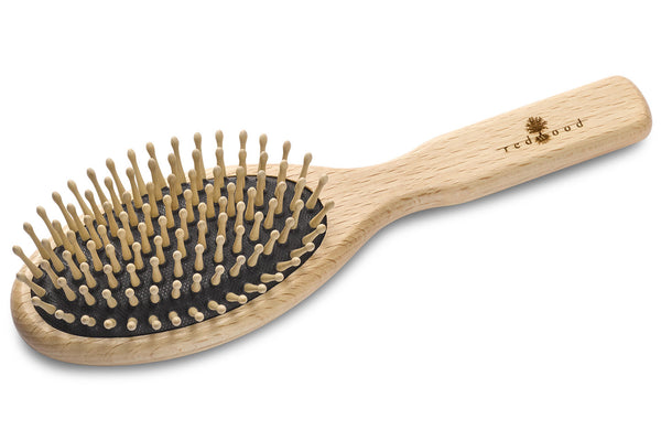 Large Oval Antistatic Massage Hairbrush made of waxed Beech, perfect for short to medium length, straight Hair, for a Gentle Massage, 21.5 cm long